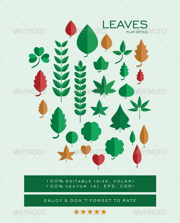 Leaves Flat Style Pack - Flowers & Plants Nature