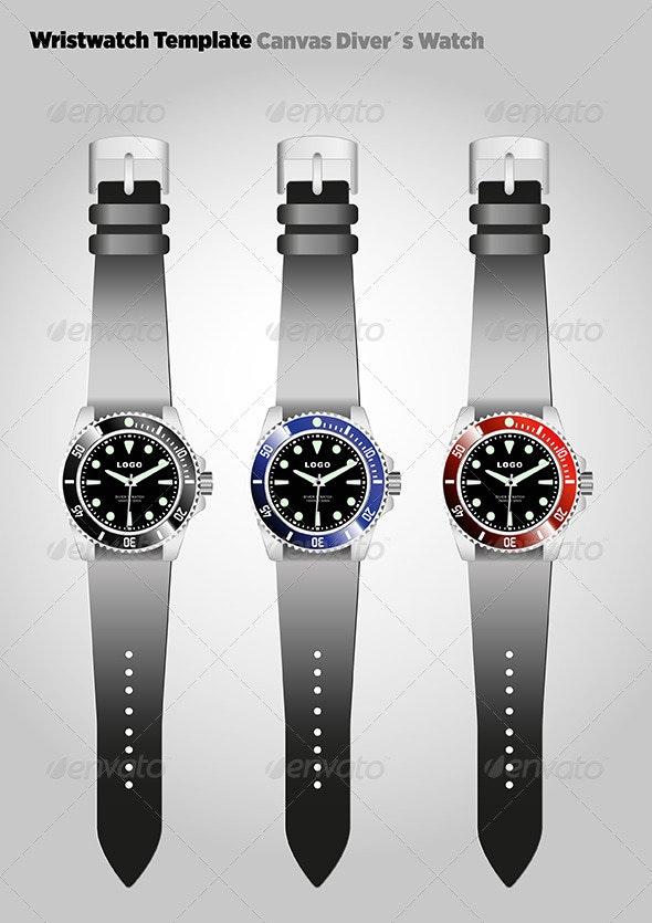 Diver´s Wristwatch Template - Vectors