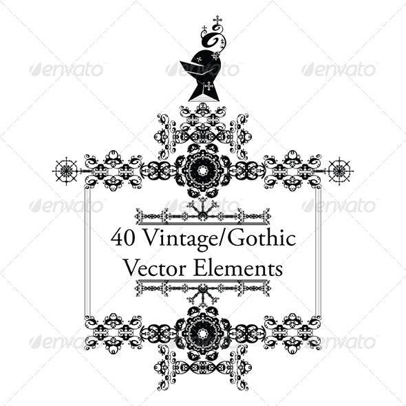 40 Vintage/Gothic Vector Elements