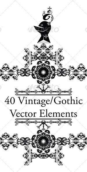 40 Vintage/Gothic Vector Elements by Dissolvepro