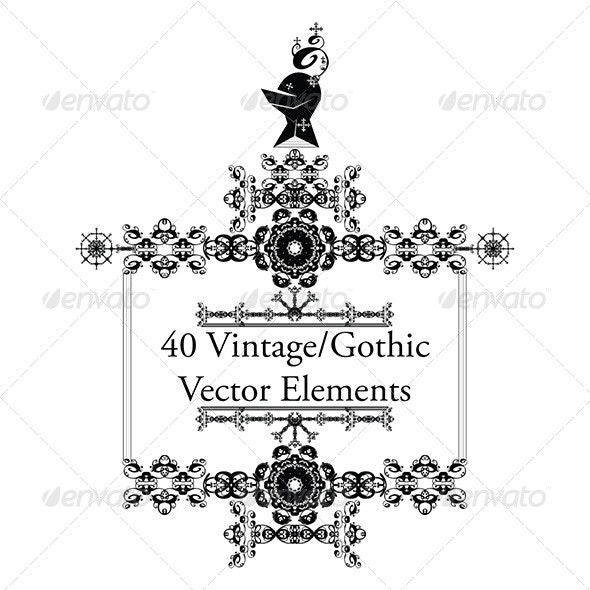 40 Vintage/Gothic Vector Elements - Decorative Symbols Decorative