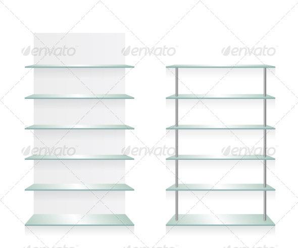 Empty Shop Glass Shelves - Objects Vectors
