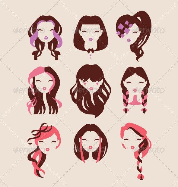Fashion Girls with Hair Styles - People Characters