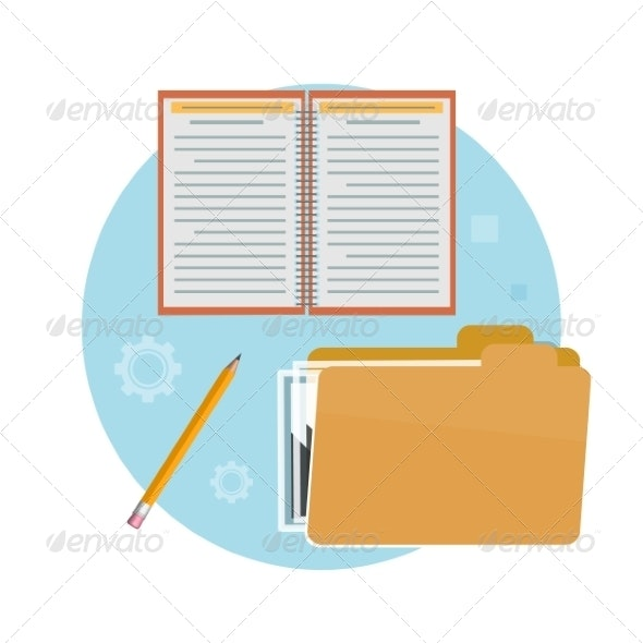 Folder, Notebook and Pencil - Concepts Business