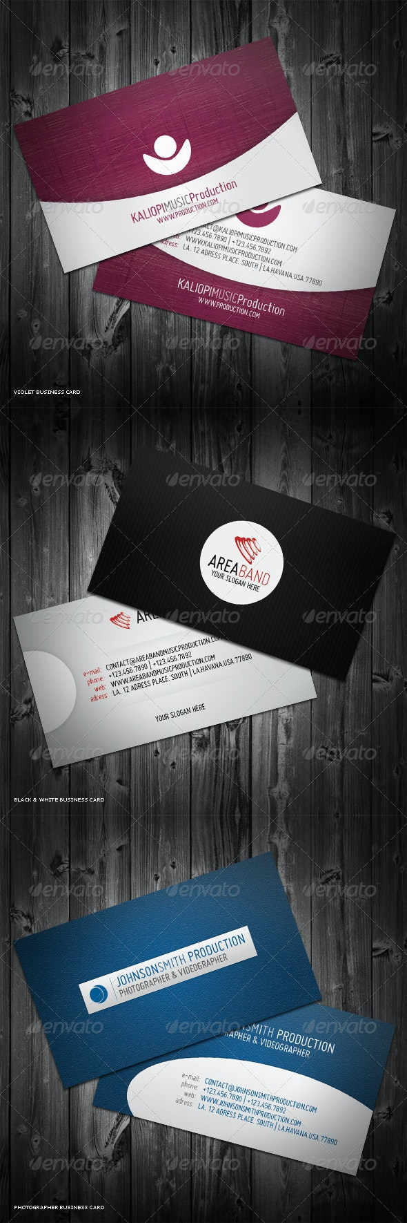 3in1 Business Cards Bundle #4 - Corporate Business Cards
