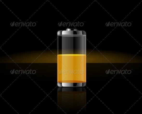 Glossy Transparent Yellow Battery - Man-made Objects Objects