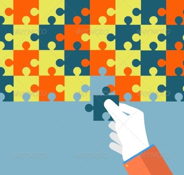 Businessman Assembling Jigsaw Puzzle - Backgrounds Business
