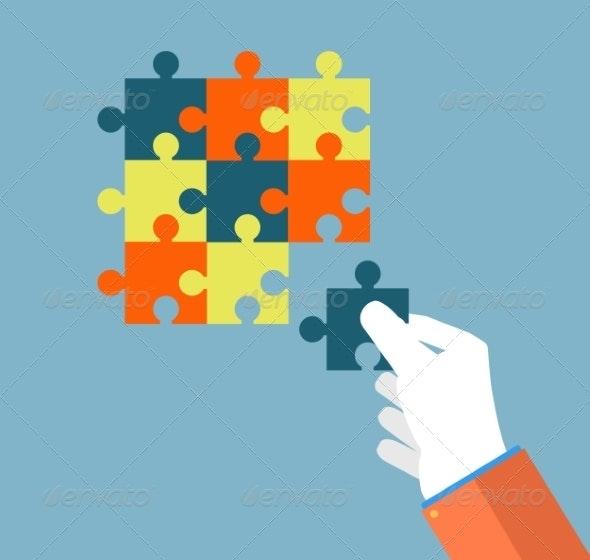 Businessman Assembling Jigsaw Puzzle - Industries Business