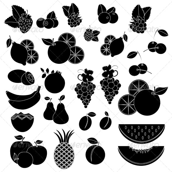 Black and White Fruits and Berries - Food Objects