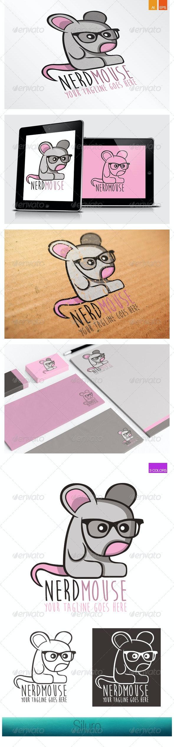 Nerd Mouse Logo - Animals Logo Templates