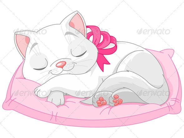 Cute White Cat - Animals Characters