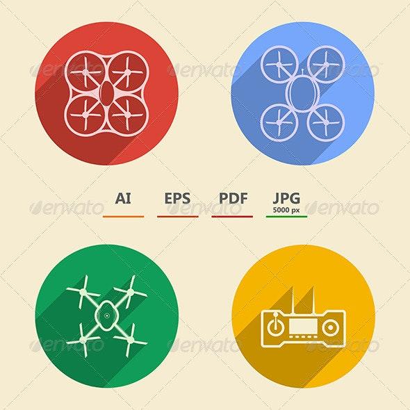 Quadrocopter icons  - Technology Conceptual