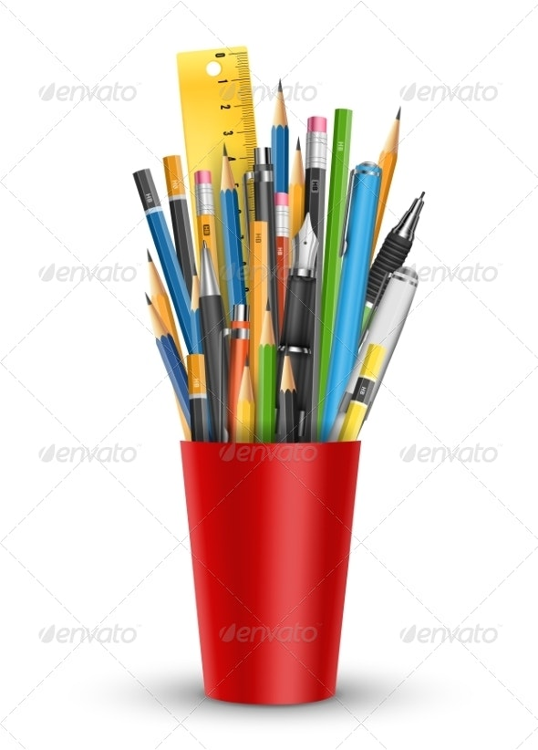 Pen and Pencils in Glass - Man-made Objects Objects