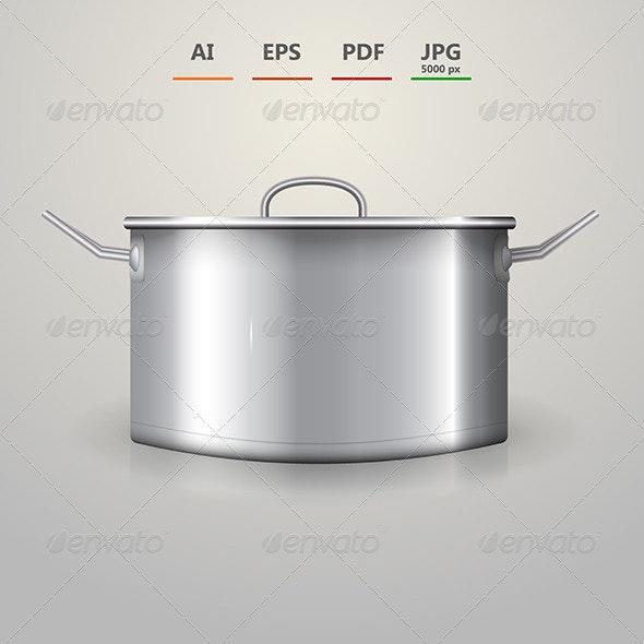 Illustration of Aluminum Saucepan - Food Objects