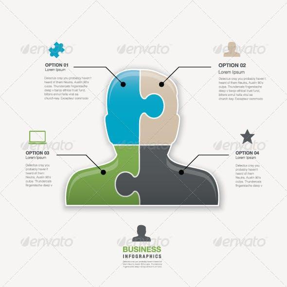 Head Jigsaw Puzzle Piece Business Man Vector