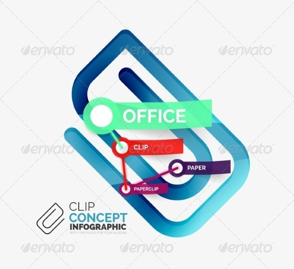 Vector Office Clip Infographic Concept - Web Technology