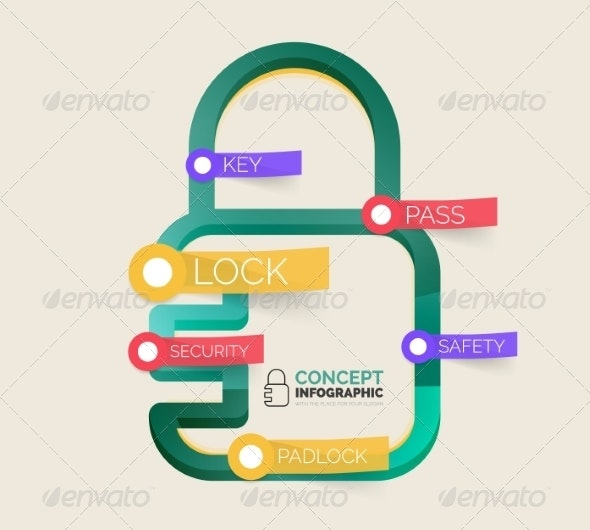 Vector Lock Icon Infographic Concept - Web Technology