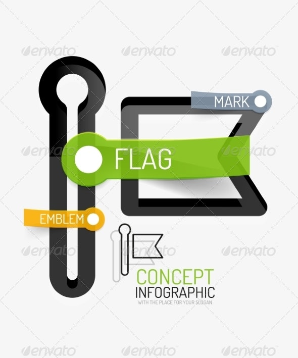 Vector Flag Icon Infographic Concept - Web Technology