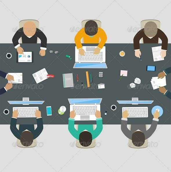 Group of Business People Working for Office Desk.  - Business Conceptual