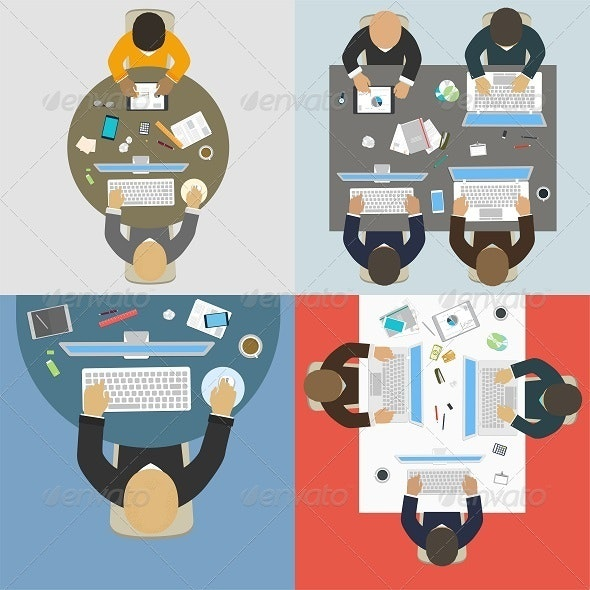 Groups of Business People Working for Office Desk - Business Conceptual