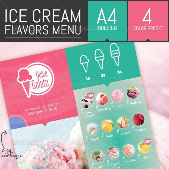 Ice Cream Flavor Menu Template