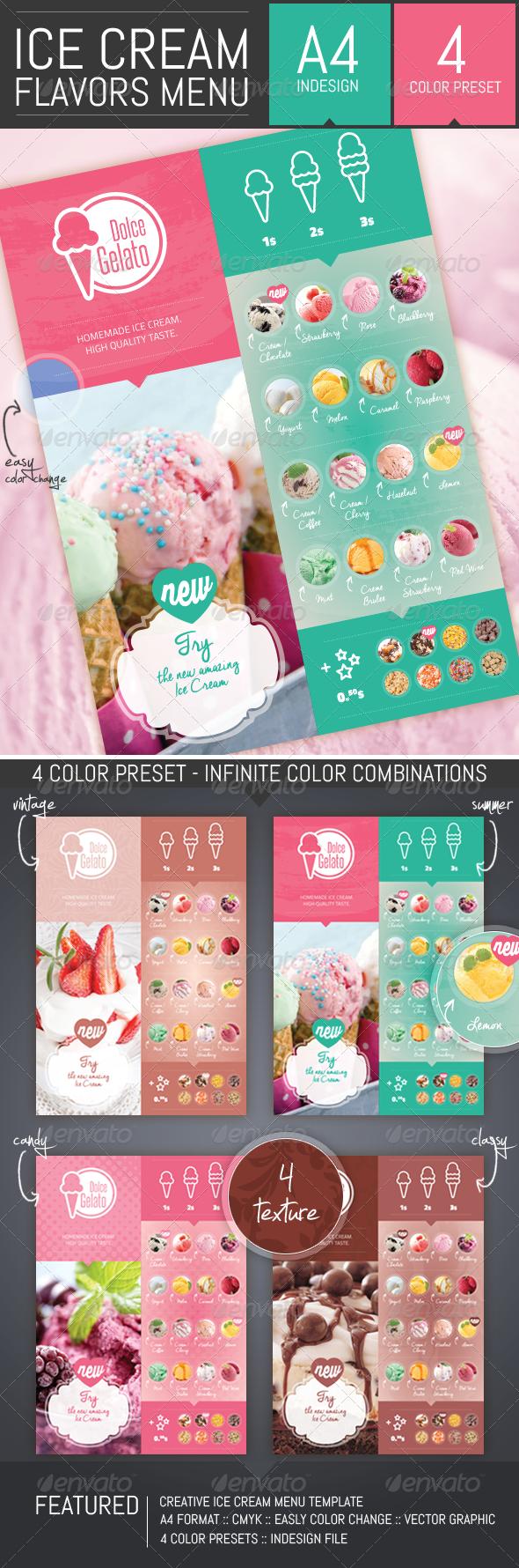 Ice Cream Flavor Menu Template - Food Menus Print Templates