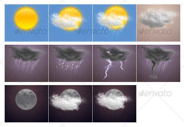 Realistic Weather Icons Pack - Web Icons