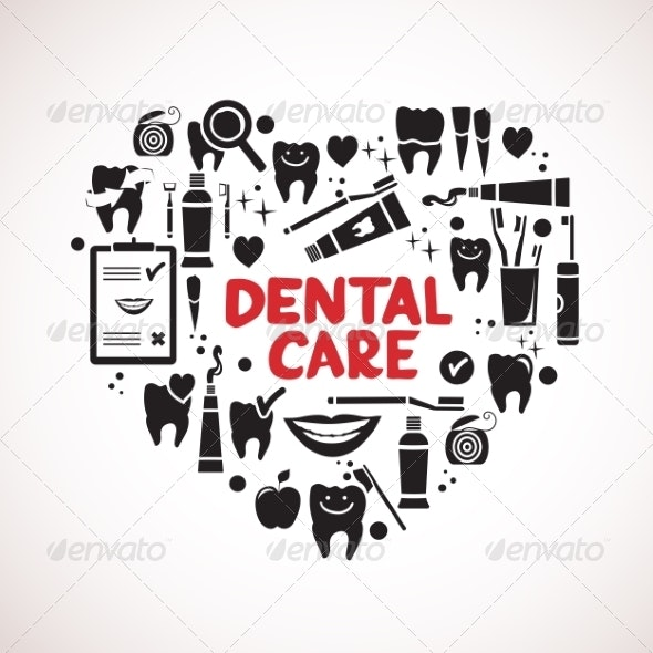 Dental Care Symbols in the Shape of Heart - Health/Medicine Conceptual