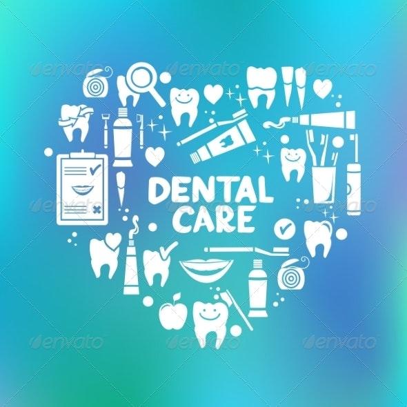 Dental Care Symbols in the Shape of Heart - Health/Medicine Conceptual
