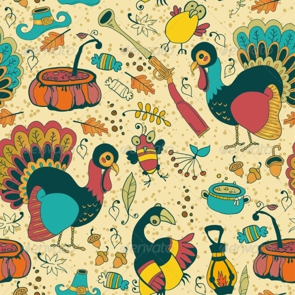 Seamless Texture with the Thanksgiving Day Icons - Patterns Decorative