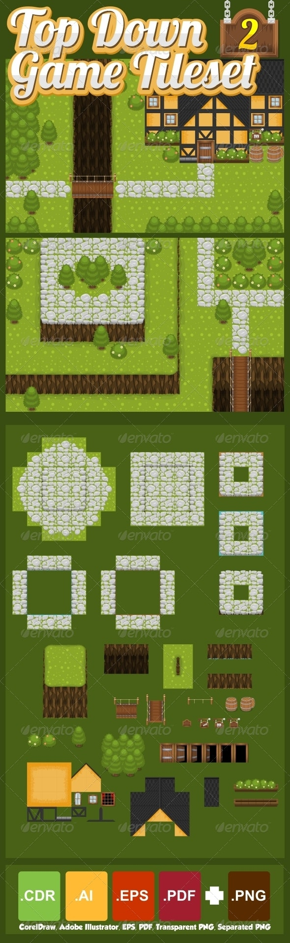Top-Down Game Tileset 2 - Tilesets Game Assets