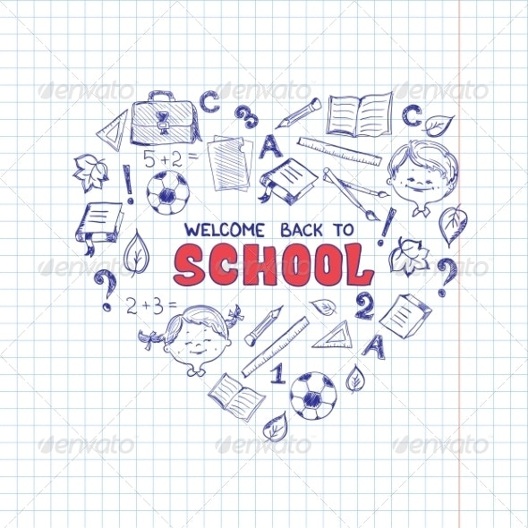 School Objects in the Shape of Heart. - Decorative Symbols Decorative