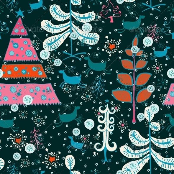 Pattern with Santa Deer, Doodle Snowman - Patterns Decorative