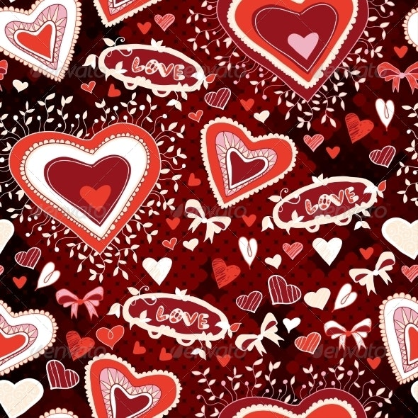 Red Pattern with Hearts, Flowers, Text - Patterns Decorative