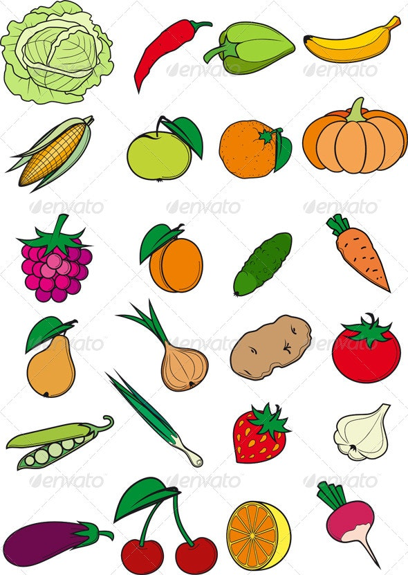 Set of Fruits and Vegetables - Food Objects