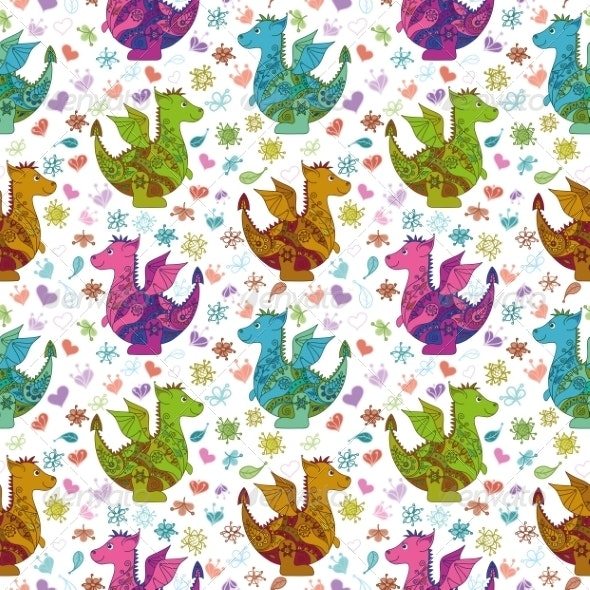Seamless Pattern, Cartoon Colorful Dragons - Monsters Characters
