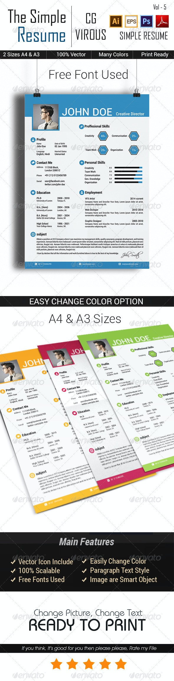 The Simple CV/Resume Vol-5 - Resumes Stationery