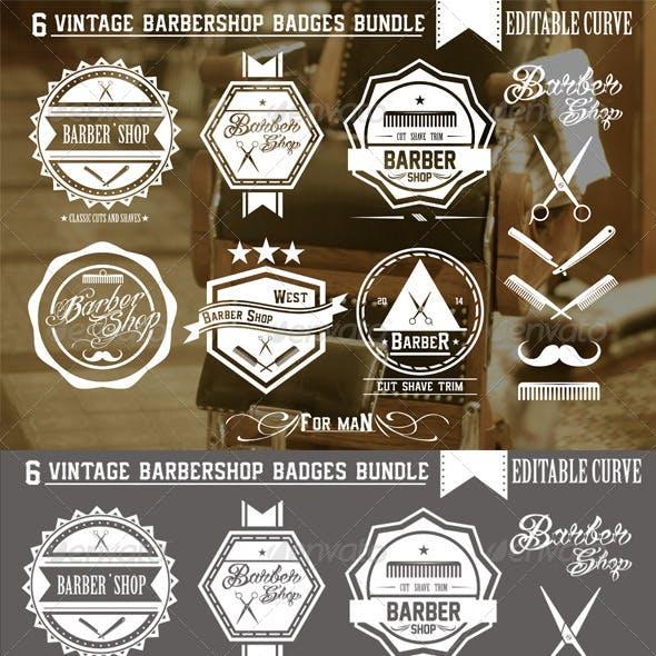 6 Vintage Barbershop Badges