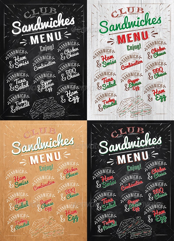 Sandwiches Menu  - Food Objects