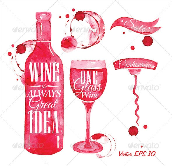 Pointer Drawn Pour Wine - Food Objects
