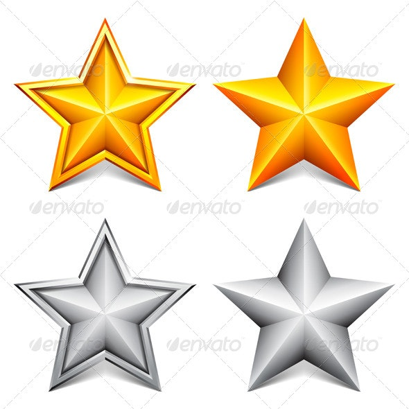 Golden and Silver Stars - Abstract Conceptual