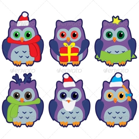 Owls in Winter Hats Colored Vector - Christmas Seasons/Holidays