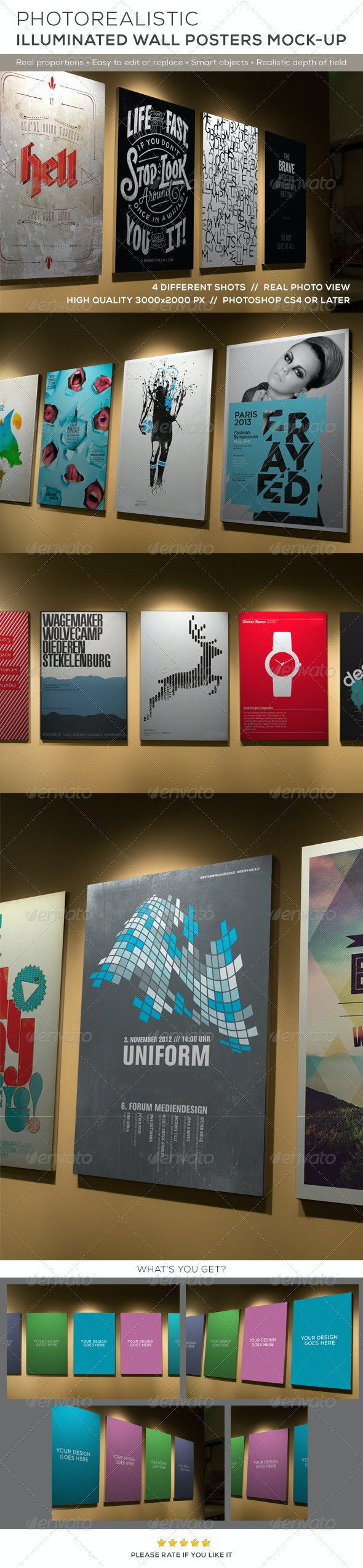 Posters Mock-up on Illuminated Wall - Posters Print