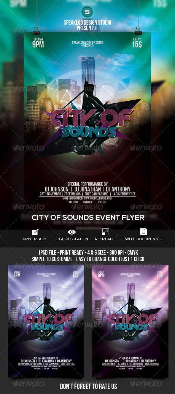 City of Sound Futuristc Flyer Design - Clubs & Parties Events