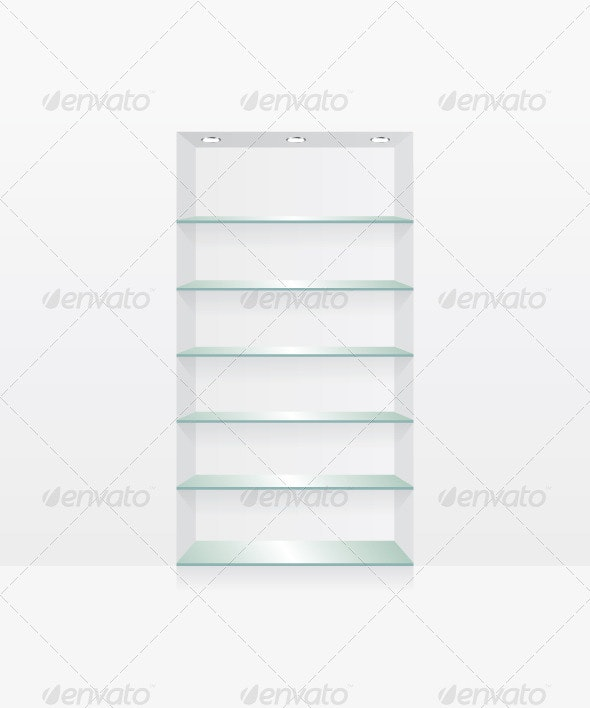 Empty Glass Shelves on White Wall - Objects Vectors