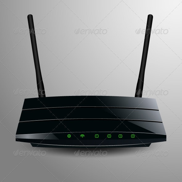 Illustration of a Black Router  - Web Technology