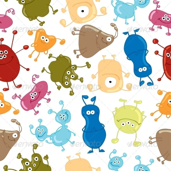 Bacteria Seamless Pattern - Monsters Characters