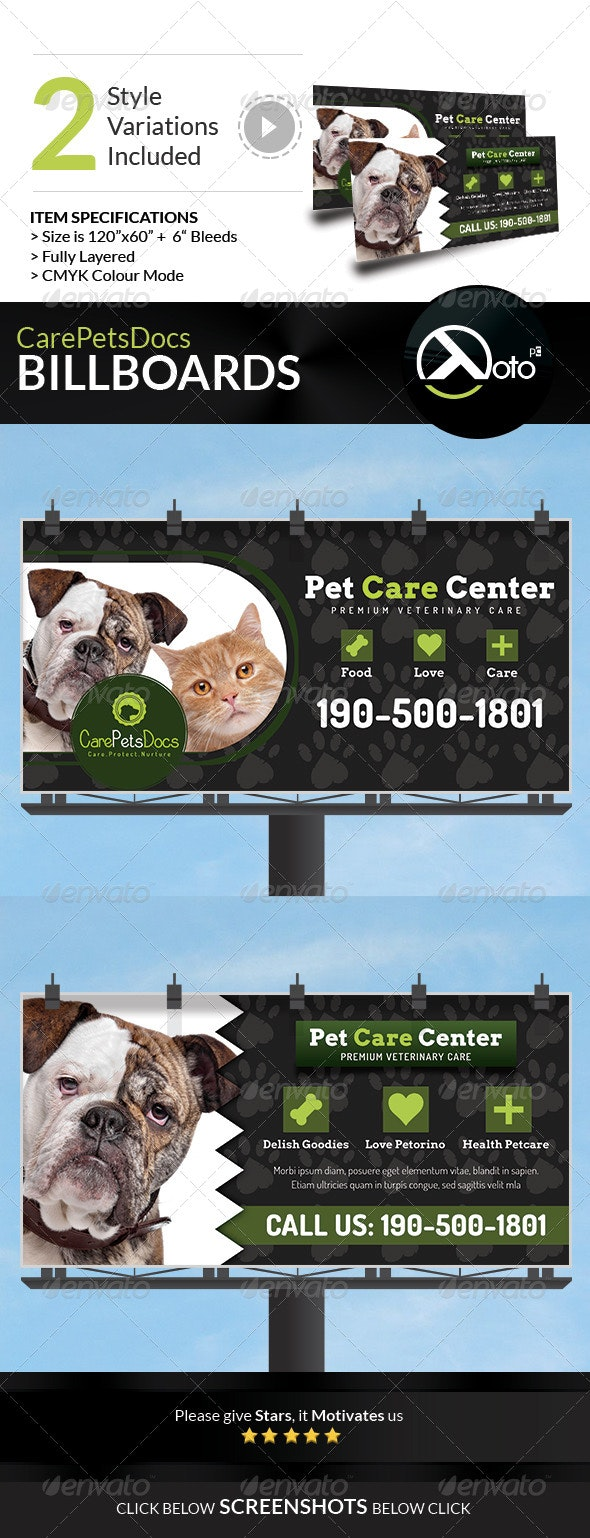 Care Pets Docs Veterinary Billboard Signages - Signage Print Templates