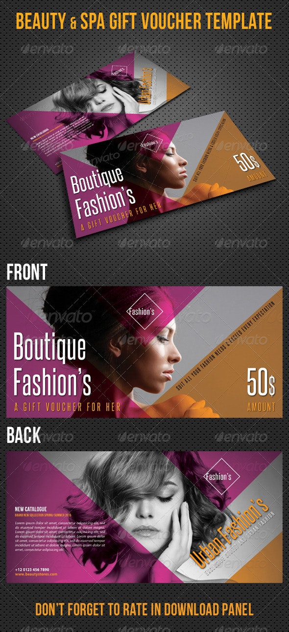 Beauty Fashion Gift Voucher V31 - Cards & Invites Print Templates