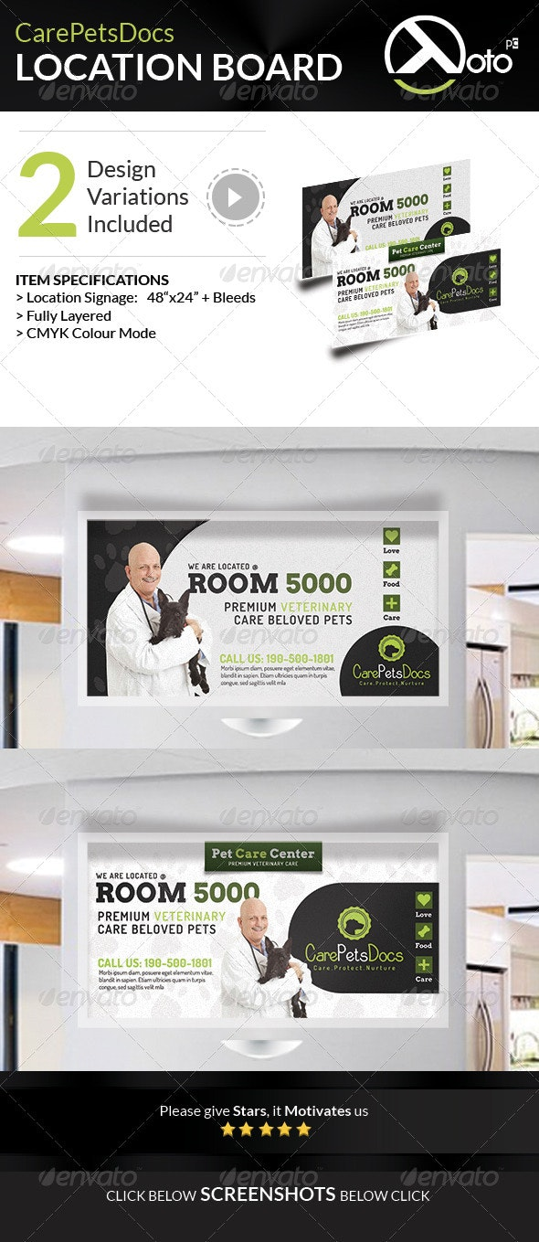 Care Pets Docs Veterinary Location Board Signages - Signage Print Templates